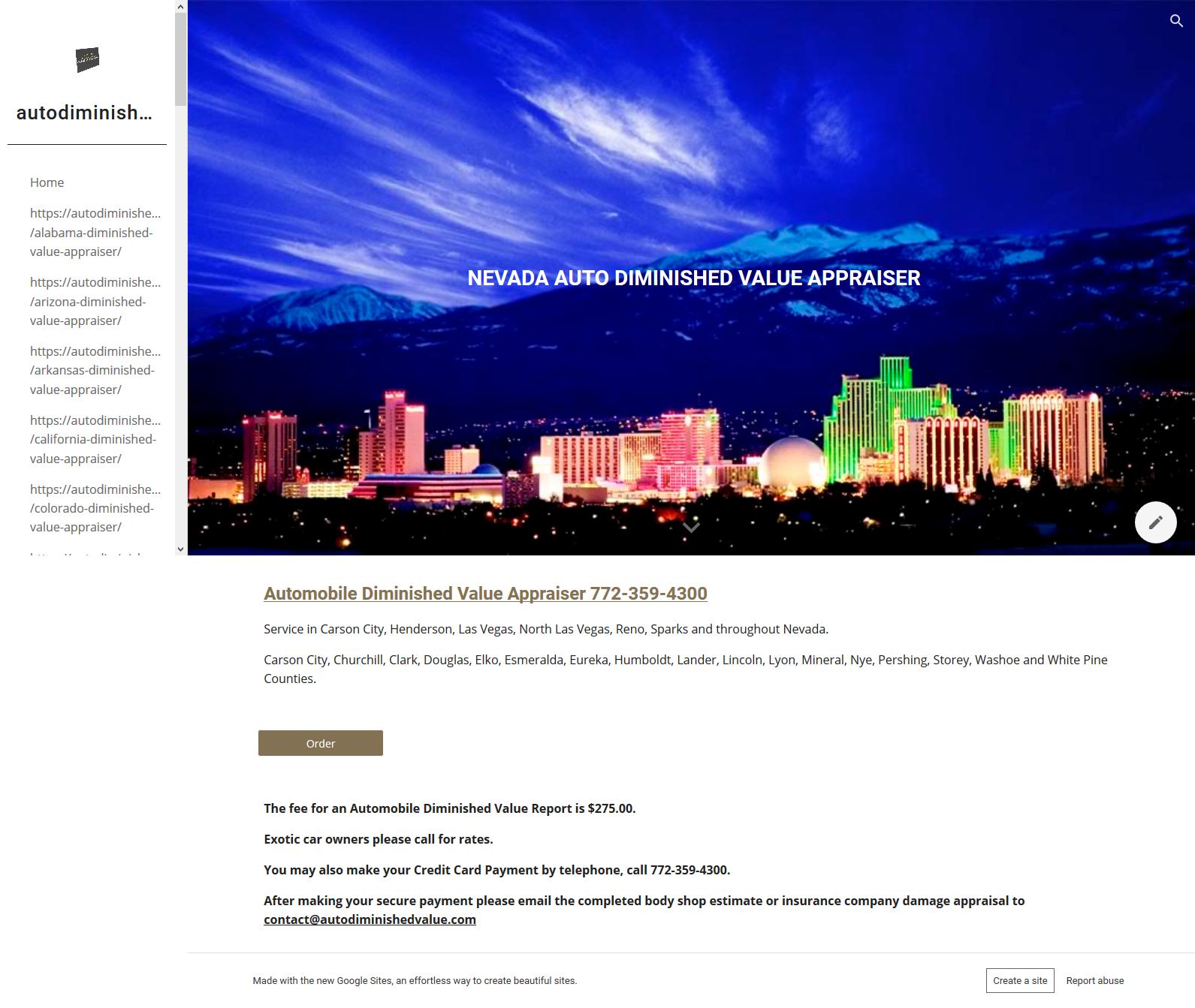 Nevada Auto Diminished Value Appraisal 772-359-4300